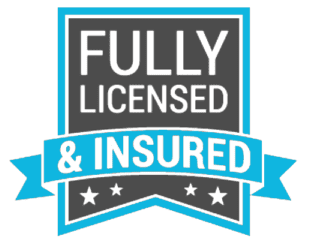 blue and black badge that says fully licensed and insured
