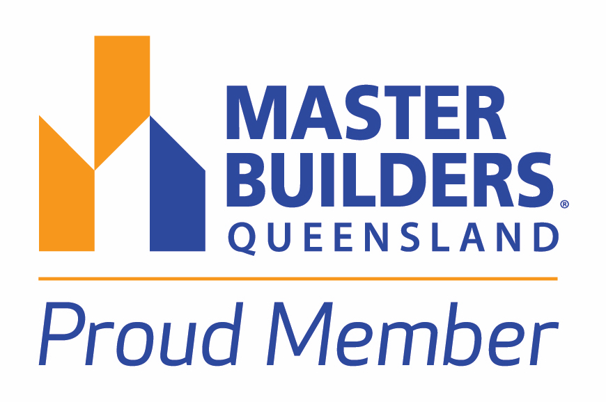 white badge that says master builders proud member